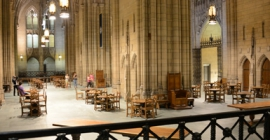 a photo of the inside of Pitt's Cathedral of Learning.